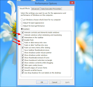Windows 8 performance option