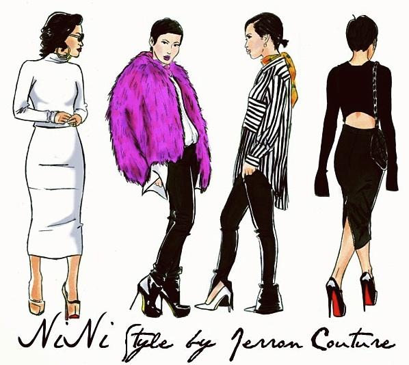 jerron couture fashion illustrator fur jacket stripe shirt midi skirts