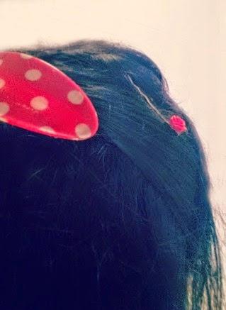 Cath Kidston Red polka Dot Hair Clip Rose Slides