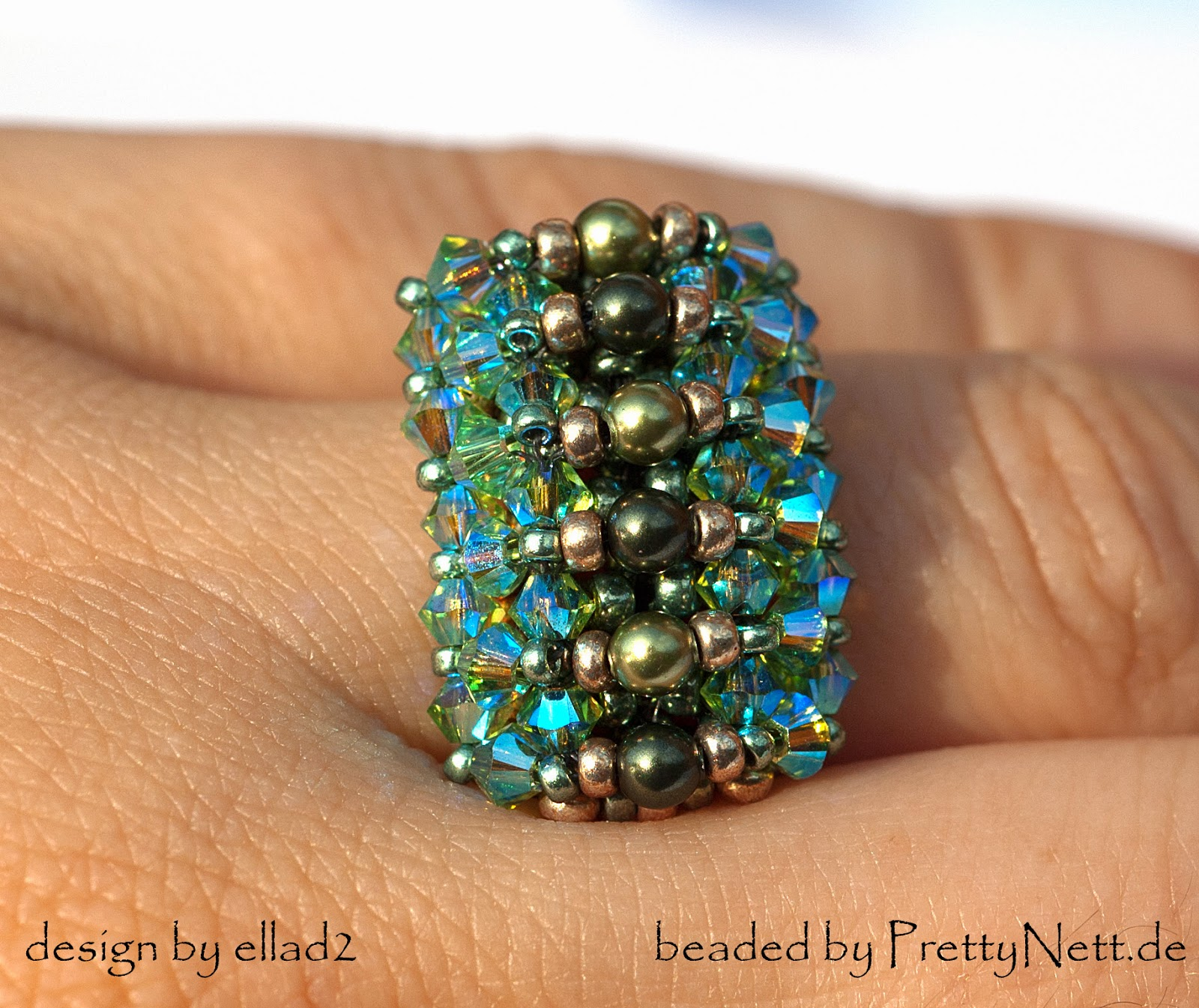 "Ring ""Malina"" beaded by PrettyNett.de"