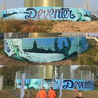 Graffiti kunstwerk op windmolen in Deventer voor Pure Energie