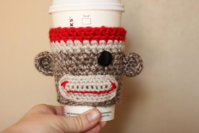The Oxford Family Sock Monkey Coffee Cozy Free Pattern