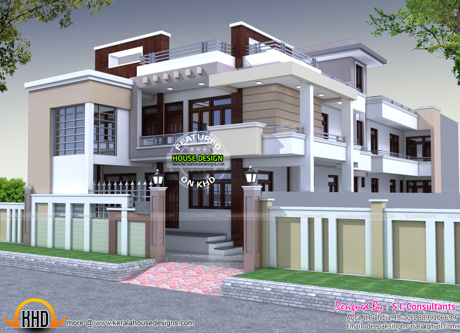 40x70 house plan in india kerala home design bloglovin for Design duplex house architecture india