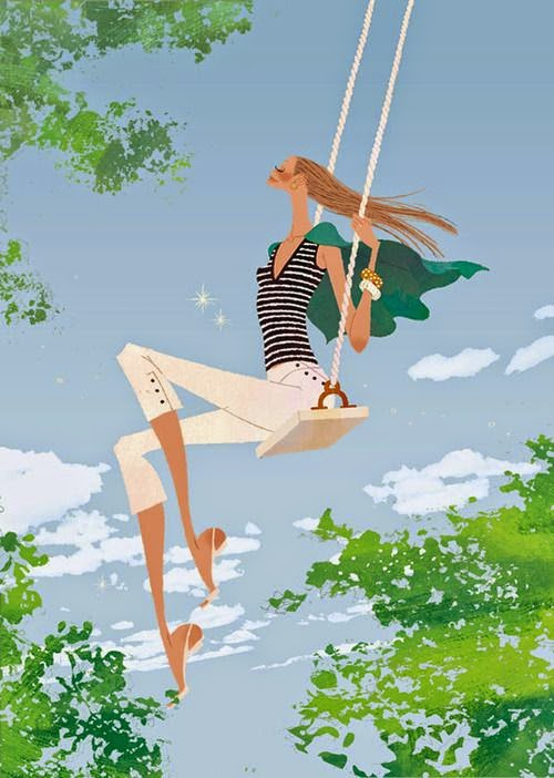 illustration by Yuko Yoshioka of a long legged woman on a swing