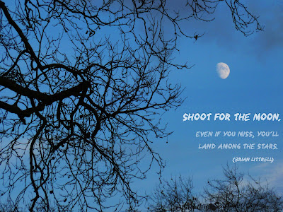 """Shoot for the Moon"" inspiring sogan against a twilight sky and bright moon."
