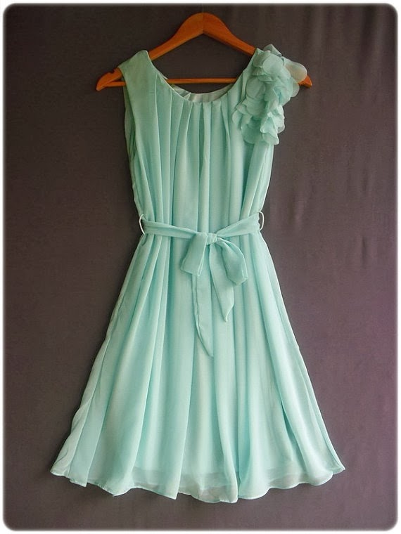 Powderblue Color One Shoulder Ruffle Dress