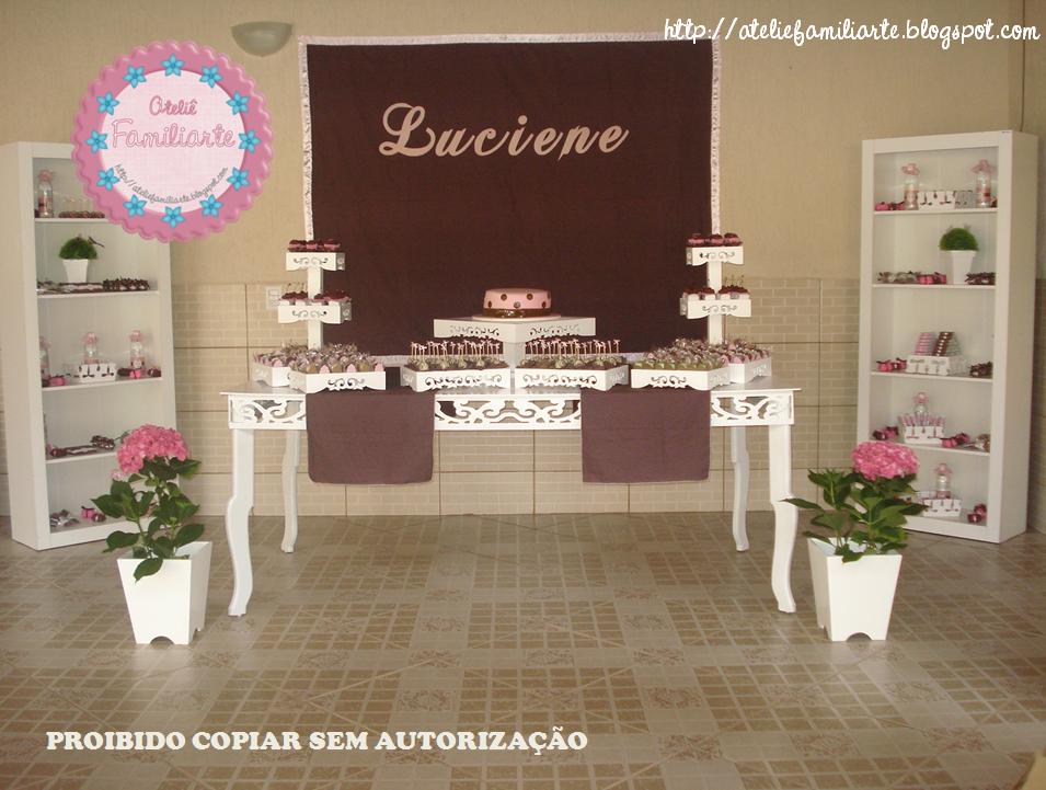 Festa No Tema Marrom E Rosa  Cheia De Charme  Delicadeza E Detalhes