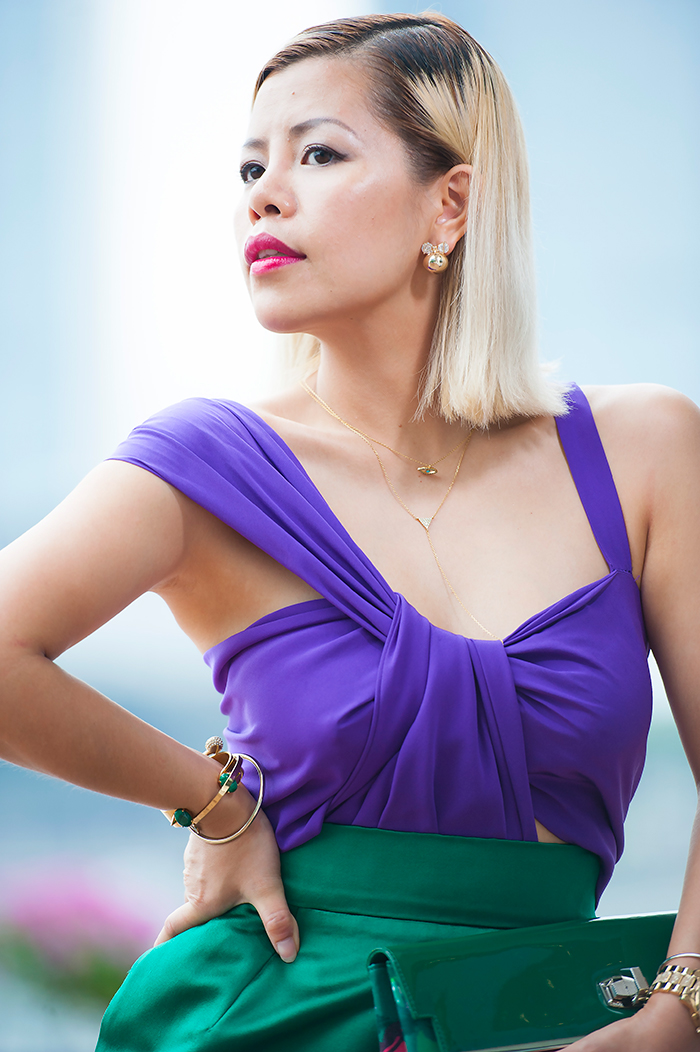 Singapore best fashion blogger Crystal Phuong in Gucci colorlocked dress