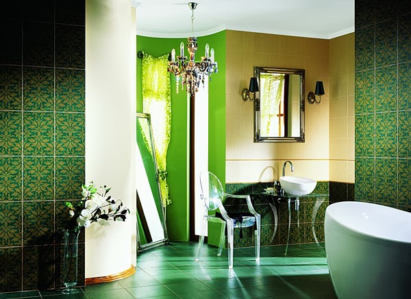 Baños Verde Esmeralda:Green Bathroom Design Ideas