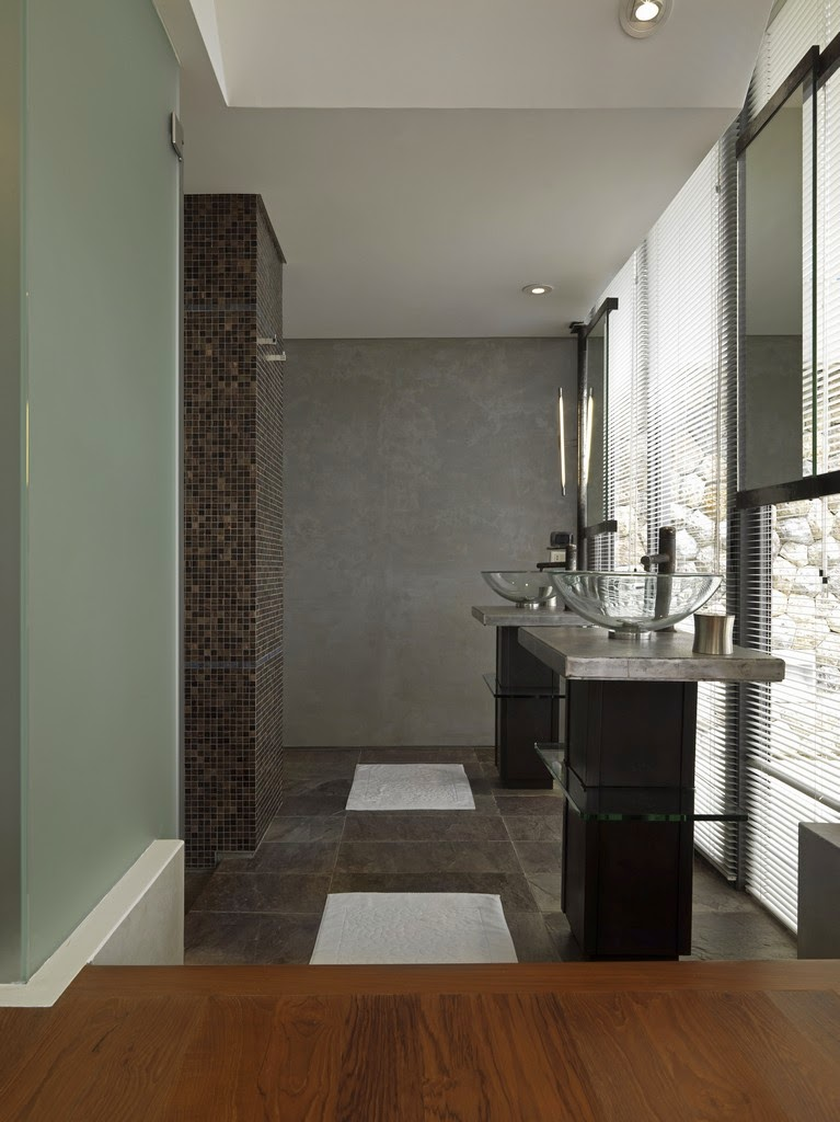 Bathroom in Villa with contemporary Asian design