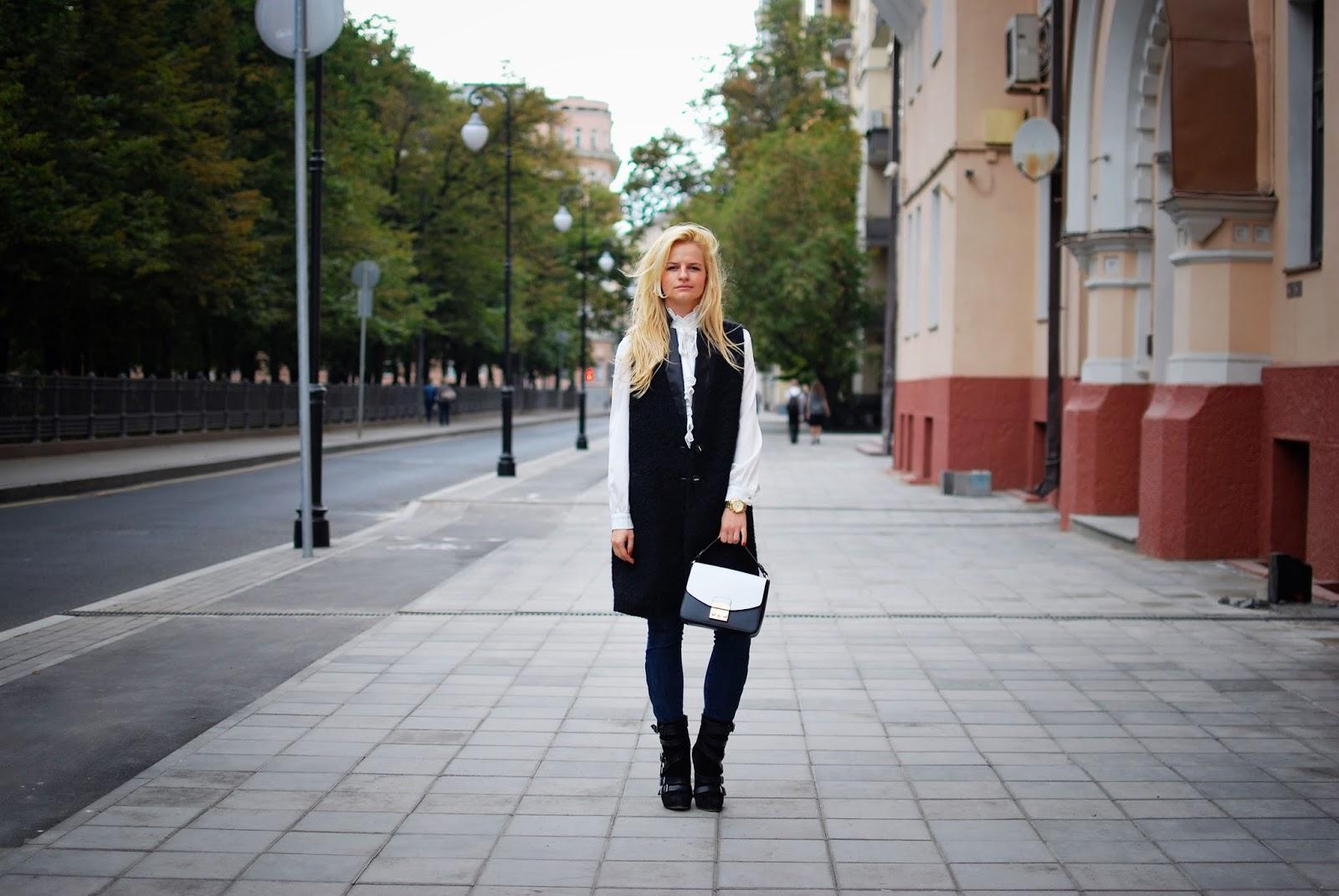 Модные образы,тренды осени,модные идеи осень 2015,с чем носить длинную жилетку,уличная мода 2015
