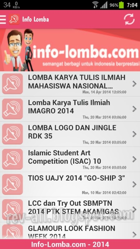 Tampilan utama - aplikasi android Info Lomba - review oleh rev-all.blogspot.com