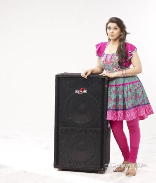 Hansika motwani new photoshoot with speaker wearing pink frock suit and churidar. -  Hansika Motwani lovely photoshoot - pink churidar