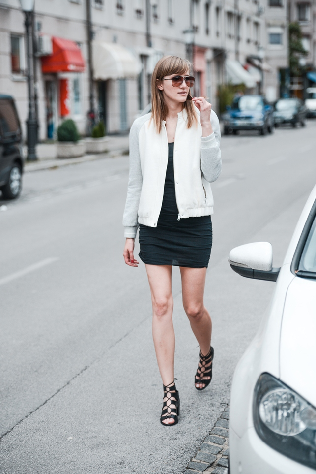 zara bomber jacket 2014, little black dress outfit, lace up sandals, blogger outfit