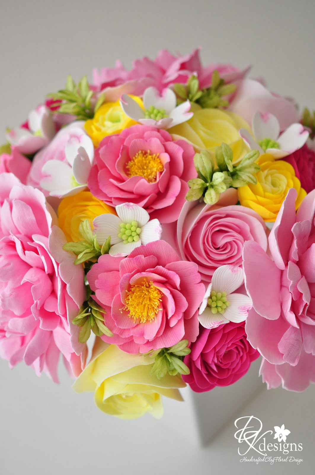 Pink and Yellow Wedding Bouquet for a Southern Wedding - DK Designs
