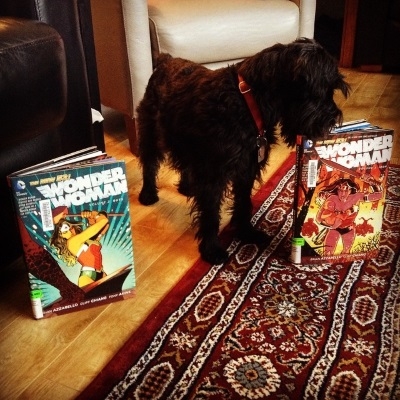 A black mini schnauzer, Duffy, stands between two hardcover volumes of Wonder Woman. Both feature WW in heroic poses. Duffy sniffs the one to the viewer's left.
