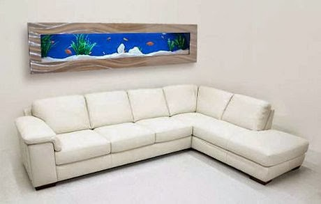 living room decor with wall aquarium