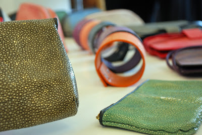 Stingray leather clutches, wallets and iphone cases at Namu Boutique in Seminyak, Bali