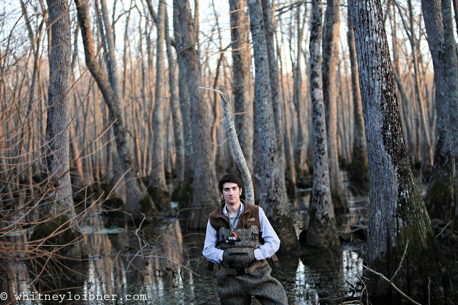 senior pictures, cypress trees, waders, duck hunting