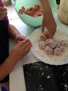 niños, hijos, cocina, albondigas, vacaciones, verano