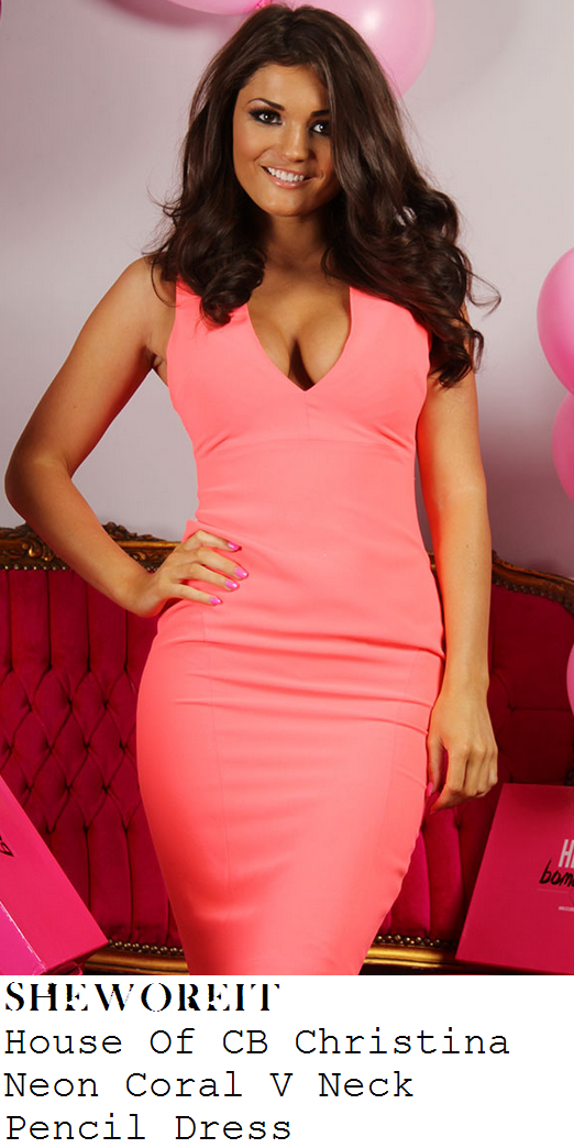 jessica-wright-bright-neon-coral-pink-sleeveless-deep-v-neckline-pencil-dress