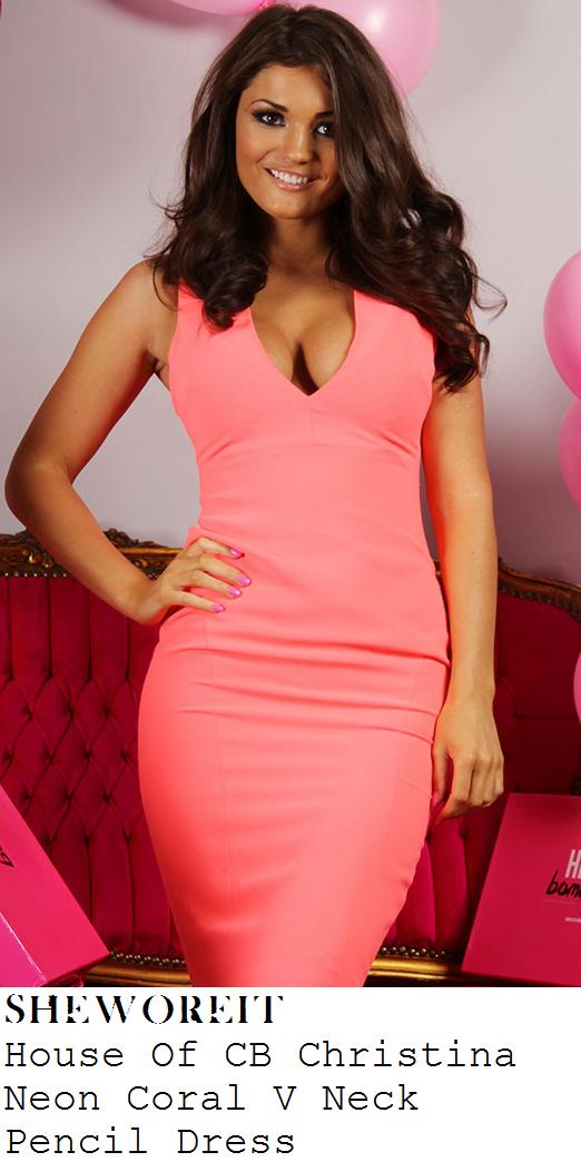 jessica-wright-bright-neon-coral-pink-sleeveless-deep-v-neckline-pencil-dress