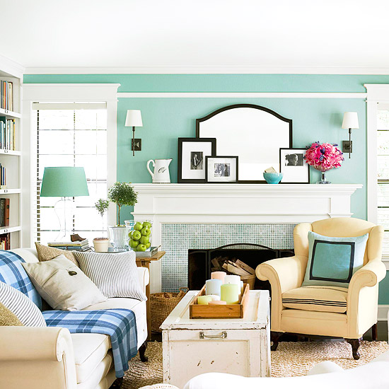 Cottage Style Living Rooms Amazing With White and Teal Living Room Picture