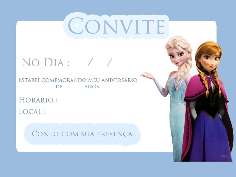 convite princesa anna e rainha elsa frozen disney