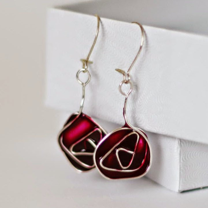 Stained glass Glasgow rose earrings