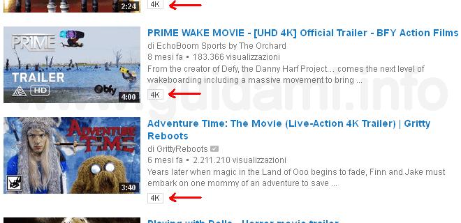 Risultati ricerca video 4K YouTube