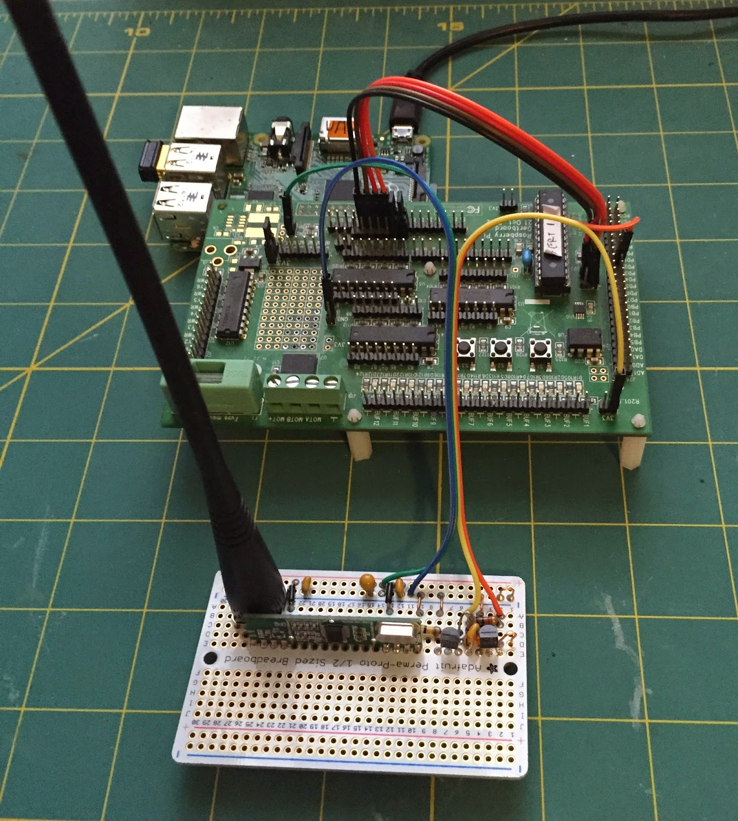The Pi I March 2015 Thermometer Circuit With Receiver And Transmitter Electronic On Left Temperature Sensor Enclosure Right 454 Mhz Connecting To Gertboard Plugs Into Raspberrypi Seen At