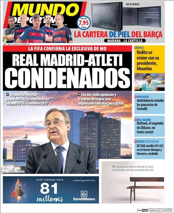 Portada del periódico Mundo Deportivo, viernes 15 de enero de 2016
