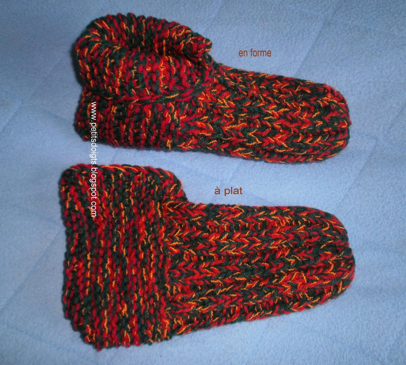 modele gratuit tricot chausson homme