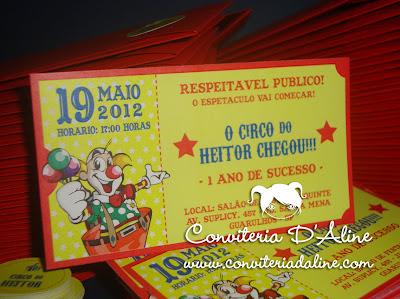 convite palhacinho ingresso circo