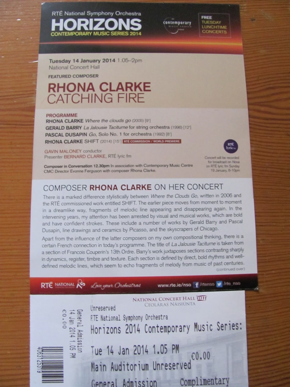 Ticket and Program for RTE National Symphony Orchestra