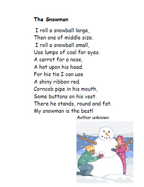 Snowman Poems The following poem is one i