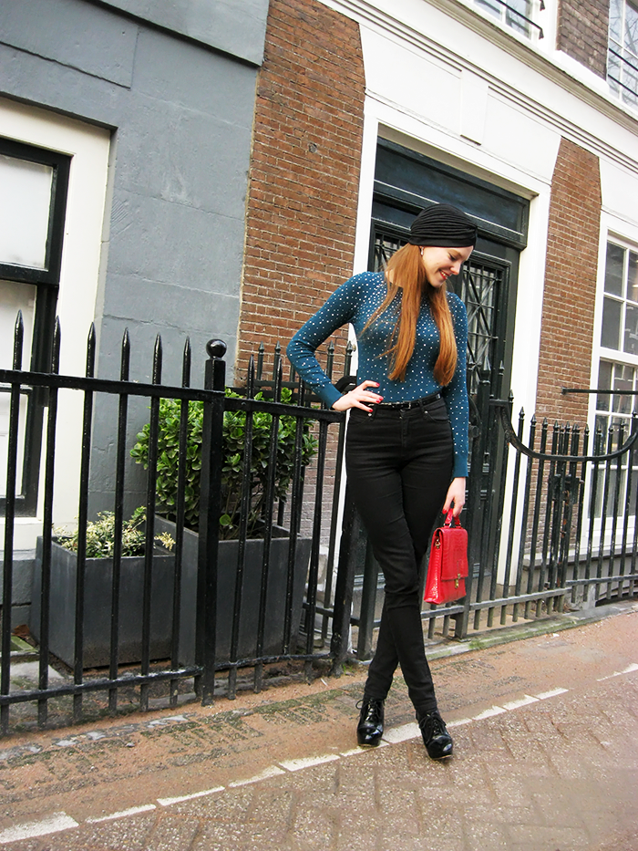 Fashion blogger outfit turban tulband patent polka dots amsterdam
