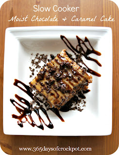 Slow Cooker Recipe for Moist Chocolate and Caramel Cake #crockpotrecipe #dessert