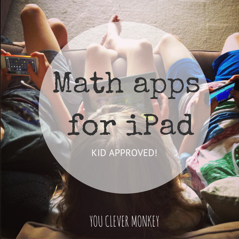 A list of kid approved Math apps for iPads.  Visit http://youclevermonkey.com/ for more details.