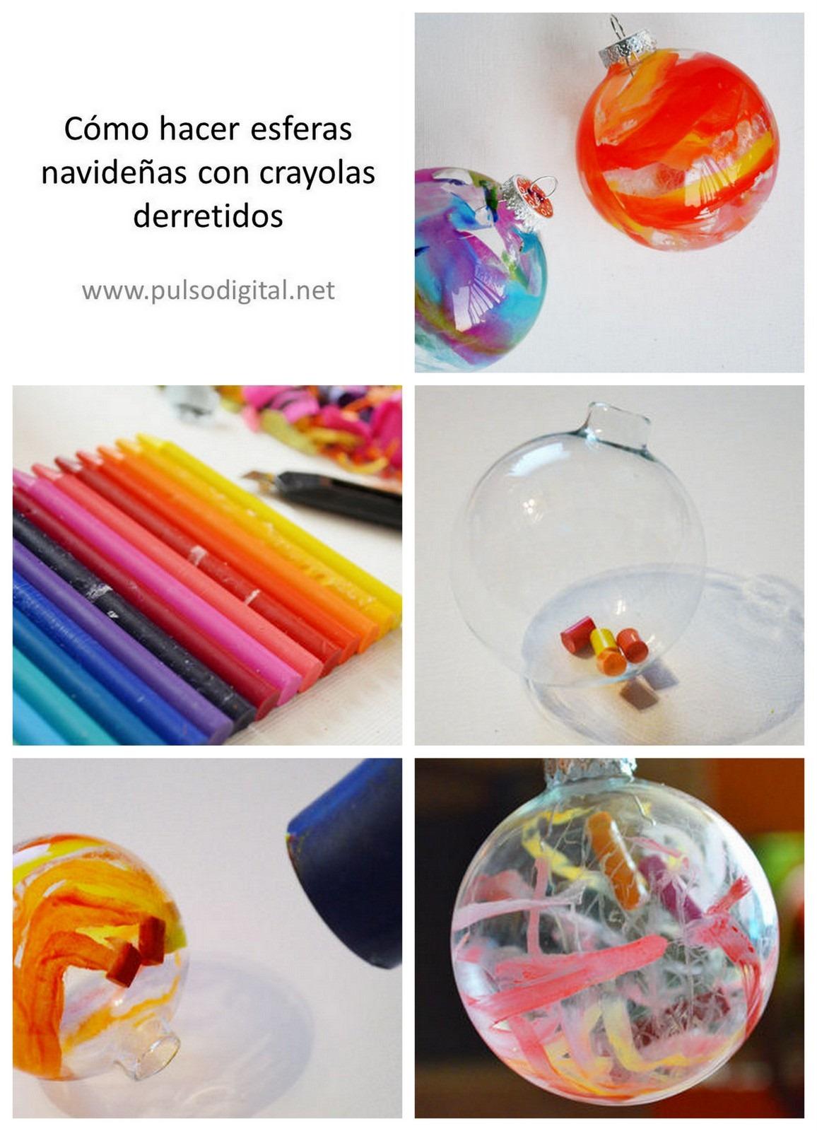 Cómo hacer esferas navideñas con crayolas derretidos