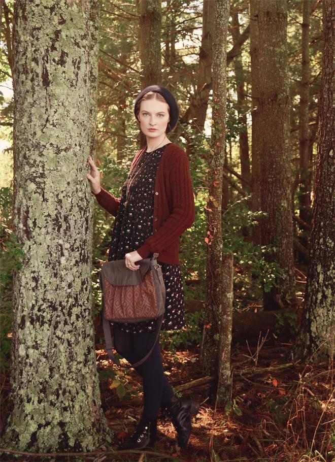 Outfit: little black smock dress, burnt-orange bag