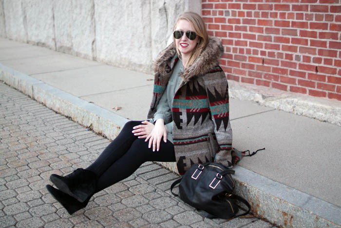l&t friends and family sale, lord and taylor, boston blogger, charlestown navy yard, boston style blog, bb dakota tribal jacket, faux fur hood