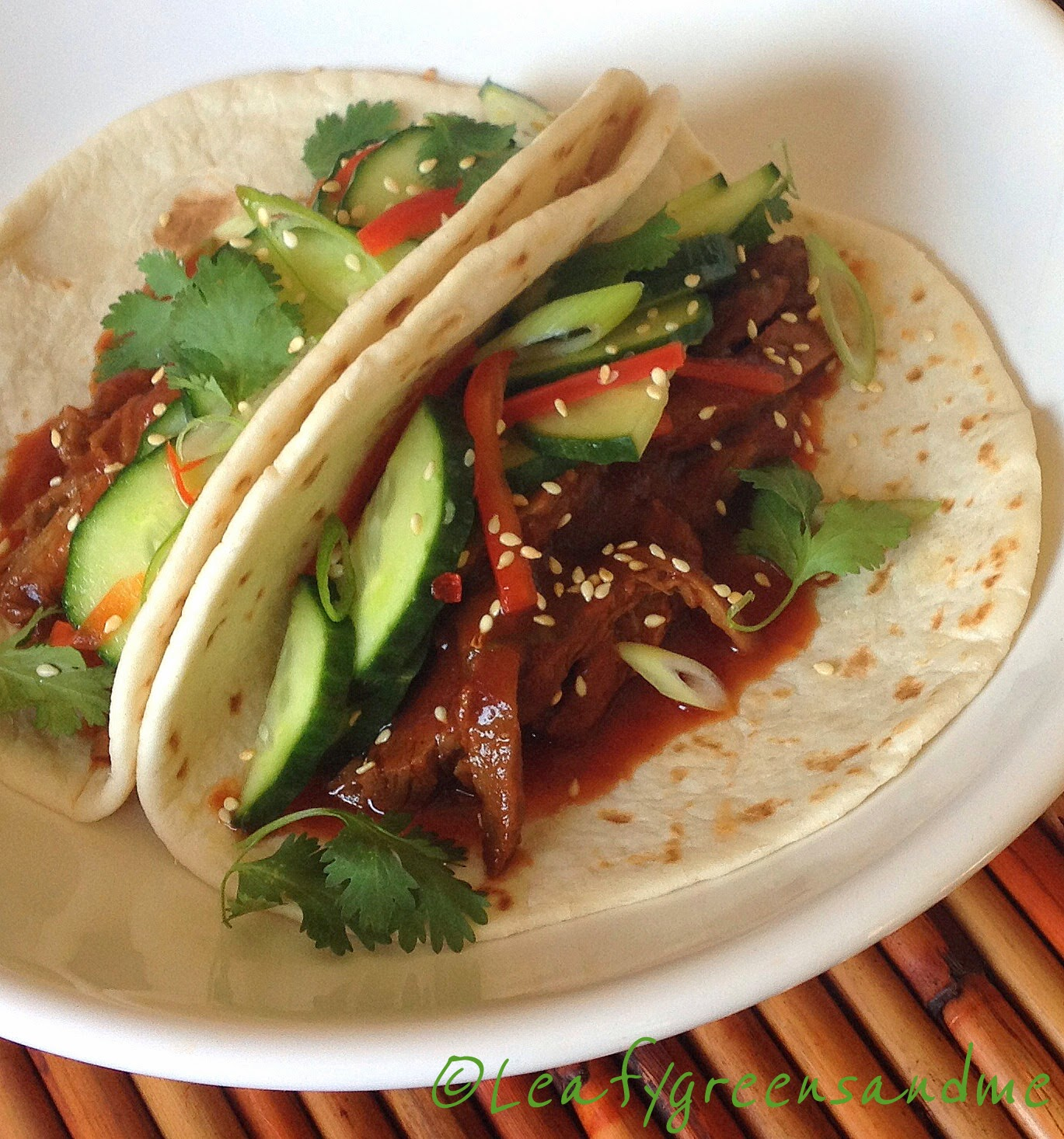 Spicy Korean Tacos with Pickled Cucumber Salad | Leafy Greens and Me