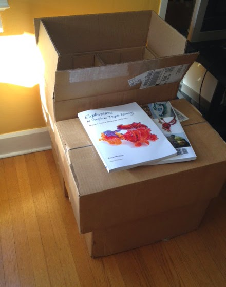 boxes of books for Explorations in Freeform Peyote Beading