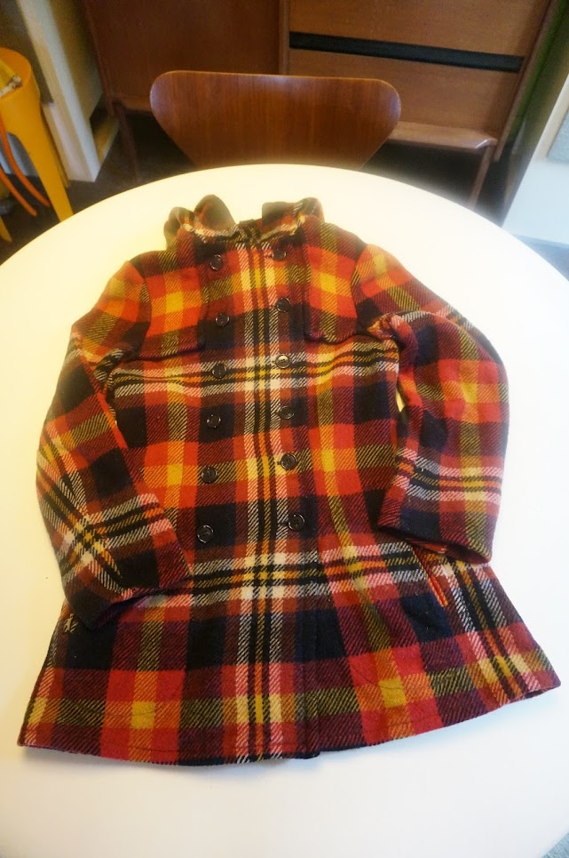 vintage 70s 1970 plaid jacket red orange yellow black coat veste années 70 carreaux ecossais