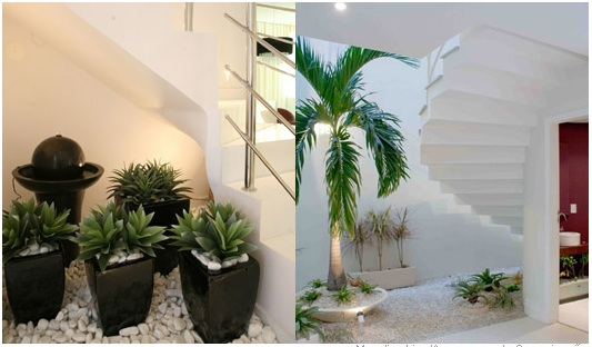 escadas externas jardim:Aqui também não foi jardim, mas vasos de plantas com pedras sobre