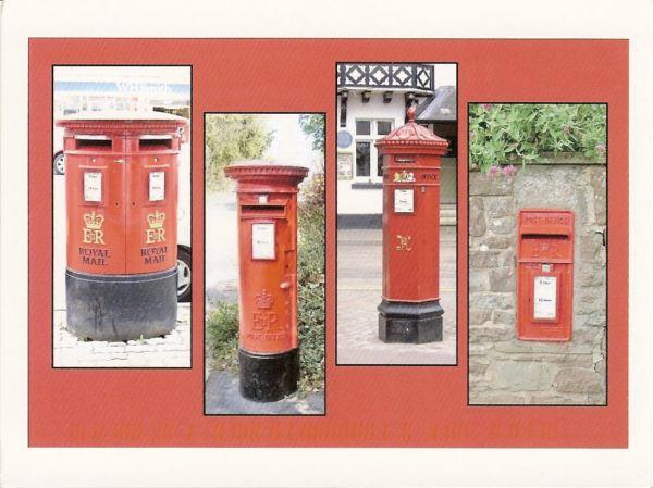 British red pillar boxes and wall box