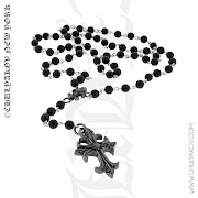 Onyx Bead Rosary with Diamond Silver Cross