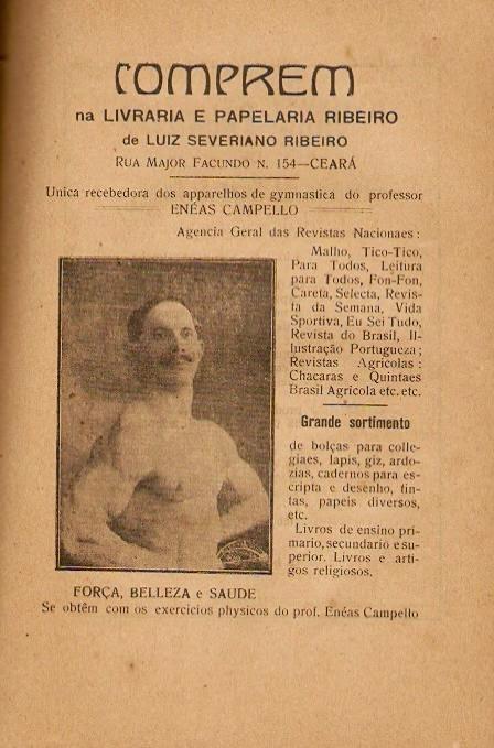 Propaganda do guia de ginástica do Professor Enéas Campello, apresentado em Fortaleza-CE em 1920.