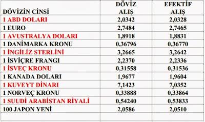 2013/3 Geçici vergi dönemi döviz kurları
